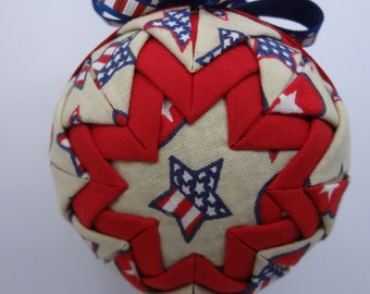 Quilted Fabric Ornament Red White and Blue Patriotic July 4th