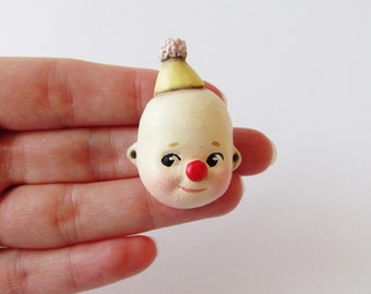Kewpie Clown Brooch - Paperclay Doll Face Pin