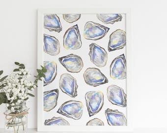 Watercolor Oysters, Oyster Art print, Oyster Artwork, Beach Art, Printable Art, Downloadable Art, Watercolor Art, Louisiana Art Print