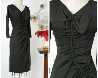 Vintage 1950s Dress - Rare Late 50s Wildly Draped Dorothy O'Hara Curve Hugging Cocktail Dress with Bow From Incredible Collection