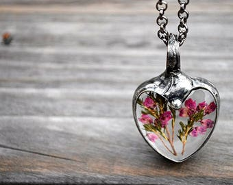 Pink Heart Necklace, Nature Lover Gift,  Gift for Sister, Heart Candy Necklace, Pink Heart Bouquet, Happy Pink Petals, USA Handmade 2495