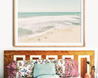 Beach print, PRINTABLE ART, Landscape Ocean poster, Aerial beach photography print, Coastal wall decor, California wall art, Wall decor