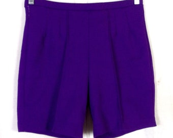 vtg 60s 70s Miss Holly Stretchy Polyester High Waist Shorts Solid Purple 16
