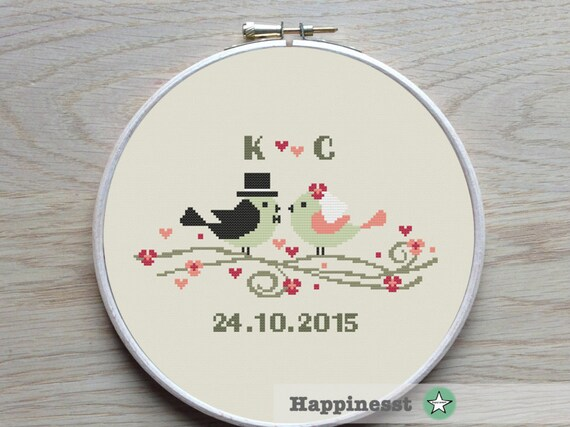 Modern Wedding cross stitch pattern wedding birds