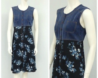 Vintage 90s Grunge Carole Little Floral Dress, A Line Dress, Short Summer Dress, Sleeveless Dress, Knee Length Dress, Casual Dress