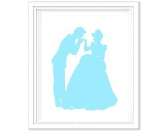 Set of 5 Disney Princess Silhouettes - Digital Printables 8x10