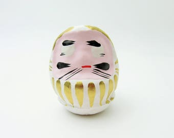 Lucky Daruma(White).Paper mashe.Small daruma doll.57mm.Hariko.#dr50.msjapan.japanese folk toy.Recommended for gifts.