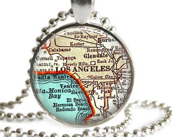 Los Angeles necklace pendant charm, California map jewelry charms, Mom Gifts,  Santa Monica keychain, custom California necklace, Glendale
