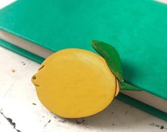Lemon Brooch, wooden laser cut