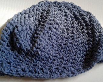 handmade blue spiral crochet beanie hat