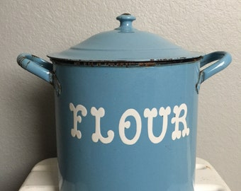 Antique Vintage Light Blue European Enamelware Flour Pot or Canister with Lid.  White letters.  English Enamel Storage bin.