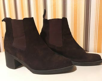 Vintage brown leather boots - size 38 eur, 8 us, 5 uk, made in Italy Romer- vero cuoio