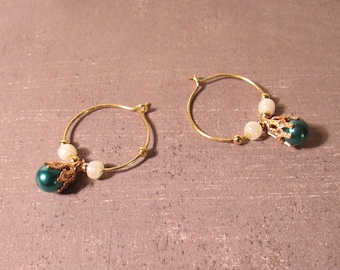 Blue n Gold Hoop Earrings Delicate Light Wire & Glass Metal Beads