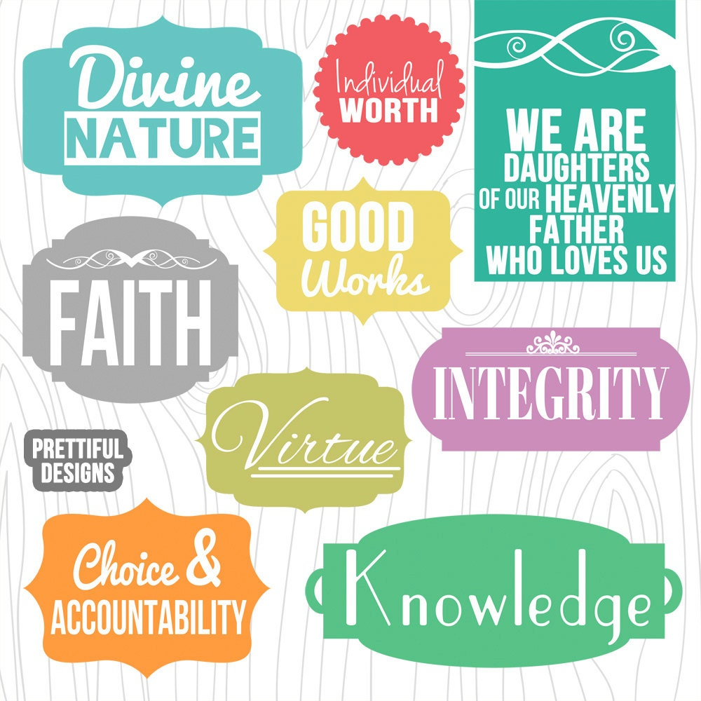 LDS Young Women Values Digital Clip Art and Word Art
