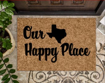 Our Happy Place - Home State - Custom Door Mat