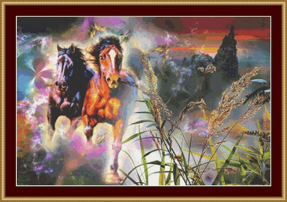 At Full Gallop Cross Stitch Pattern /Digital PDF Files /Instant downloadable