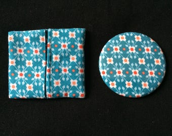 """Flowers"" print Pocket mirror and matching wallet"