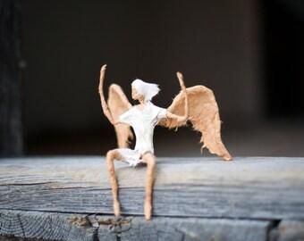 Angel Sculpture, Paper Mache Doll, Angel Figurine, Wire Sculpture, Birthday Gift, Wedding Gift, Paper Mache Figurine, Engagement Gift