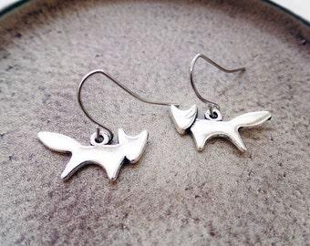 Silver Fox Earrings   Animal Lover Earrings   Woodland Earrings