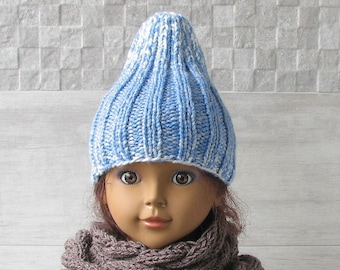 Kids Fashion, Hand Knitted Hat Slouchy Boys Girls Blue Beanie, Blue Tweed Winter Gift