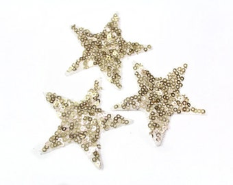 6 Iron On Hot Fix Gold Sequins STARS Patch Appliques 6 cm