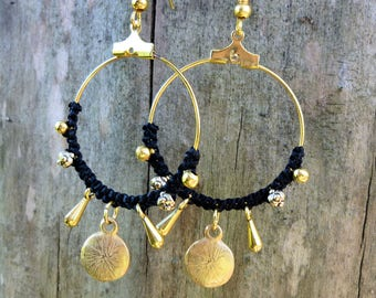 Hoop earrings with Golden charms and black macrame