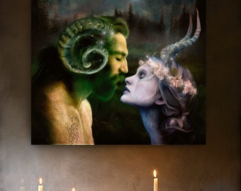 Lord and the Lady Love Horned God and Goddess Art print altar magic pagan wicca wall art