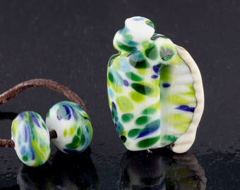 Tropical Seashell and Matching Pair Handmade Glass Lampwork Beads by Pink Beach Studios - SRA (1619)