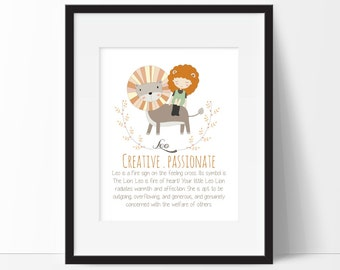 Leo Zodiac Sign Print for Kids Rooms, Astrology Print, Girls Zodiac Print, Leo Design