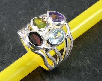 Garnet, peridot, amethyst, topaz and silver, ring - 4537