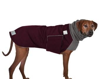 RHODESIAN RIDGEBACK Winter Dog Coat, Winter Coat for Dogs, Waterproof Dog Jacket, Fleece Dog Snood, Dog Hood, Dog Clothes, Maroon,