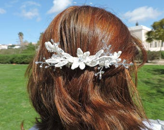 Bridal Ivory lace hair comb with silver crystal branches,beaded hair jewelry