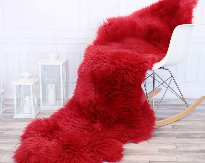 Double Sheepskin Rug | Long rug | Shaggy Rug | Chair Cover | Runner Rug | RED Rug | Carpet | Red Sheepskin