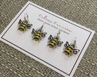 Set of four stitch markers for knitting bees