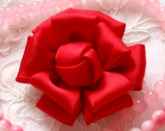 Larger Handmade Silk Flower (2.5 inches) In Red  My-298-26 Ready To Ship