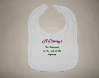 RTS Milliways Restaurant at the end of the universe Bib HHGTTG H2G2 baby shower gift ready to ship