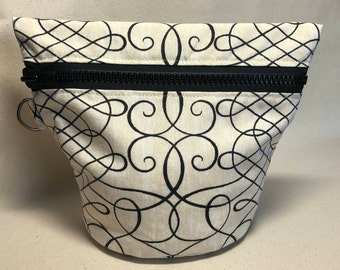 Small Traveling Yarn Bowl Project Bag - Black Swirl