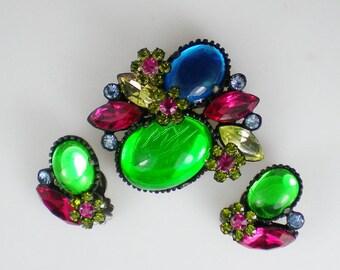 Vintage Pink Green Blue Glass Cabochon Rhinestone Brooch Pin & Earrings Demi Parure 1960s