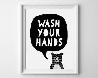 Wash Your Hands Bear   Cute Animal   Instant Digital Download   Black And White Decor   Nursery   Kids Room   Bathroom   Wall Art Print