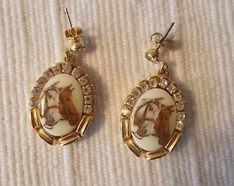 Vintage~Antique~Horse~Earrings~Rhinestones~Thoroughbred Fox Hunter~Fine Equestrian Jewelry~Mid Century~Estate
