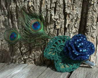 Crochet blue beaded rose and peacock feather hairclip or hatpin