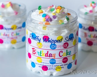 Fluffy Whipped Soap - Birthday Cake - Vegan Friendly, Body Wash, Birthday Cake Soap, Birthday Gift, Happy Birthday, 8 oz. *LARGER SIZE*