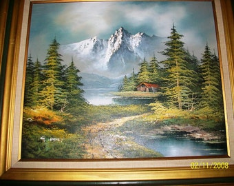 "Listing 311 is an Original Painting ""Cabin in the woods"""