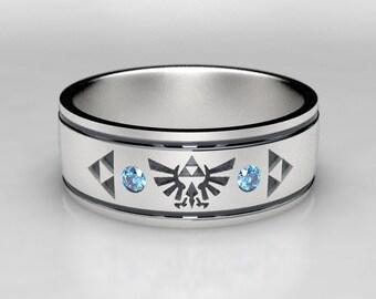 Mens Zelda Wedding Band with Blue Diamond, In Silver, Gold, Palladium, Size 9 Ring, Size 10 ring, Legend of Zelda Geek Mens Wedding Ring