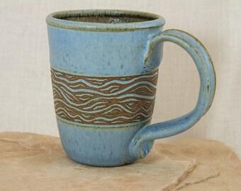 Hand Carved Stoneware Mug - Blue and Brown Ceramic Coffee Cup - Carved and Inlayed Tea Mug - 12 oz Tea Cup