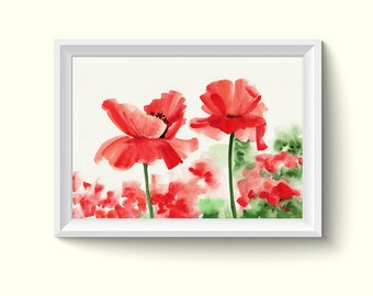 Poppy Flower Watercolor Painting Poster Art Print P356