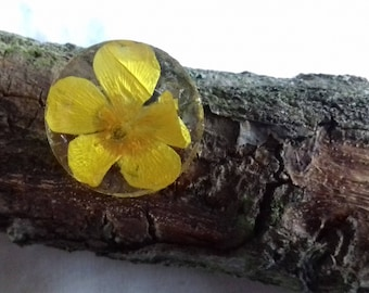 Real Natural Yellow Buttercup Flower Brooch Pin Handmade Jewellery nolaorchid Boho Gift For Her