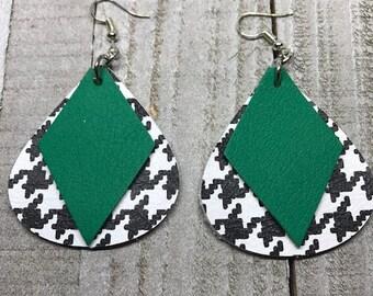 Leather earrings, Earrings, Leather, Teardrop earrings, Houndstooth earrings, Green earrings, Bold earrings, Drop earrings, Statement earrin