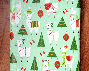 llama Christmas Wrapping Paper, Holiday Gift Wrap 10 ft x 2 ft. / 3.048 m. x .60 m. Roll, Children's Wrapping Paper, Green and Red