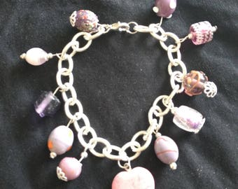 Unique Candy Pink Stone and Glass Charm Bracelet